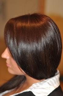 Dark chocolate hair colour with a purple tinge