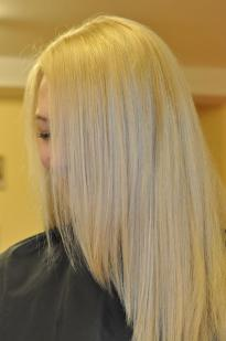 Blonde hair colour with a grey tint