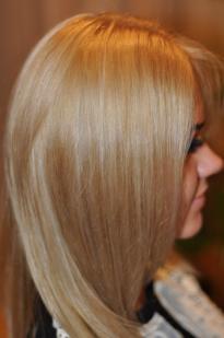 Caramel hair colour with a grey tint