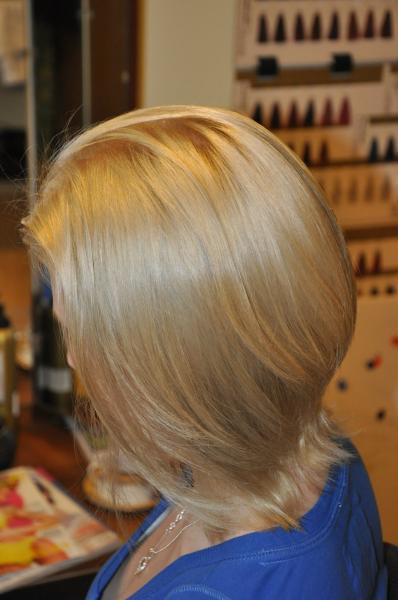 Greyish hair colour