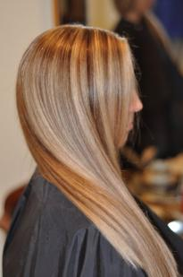 White and brown hair highlights