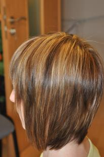 Dark brown and light hair highlights