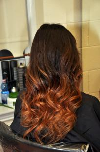 Ombre curls with dark roots