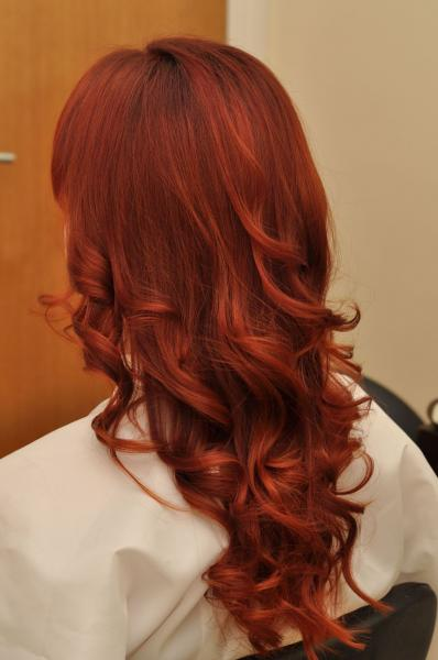 Red colour hair with brown tint
