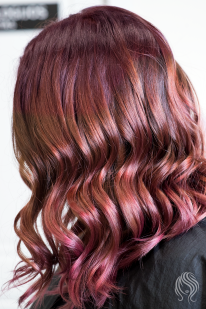 Balayage with red-violet shade